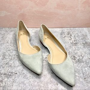 MARC FISHER   Suede Baby Blue Pointy Toe Flats